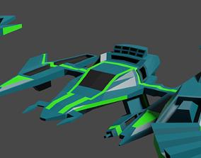 3D model game lowpoly spaceship