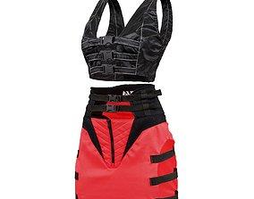 Namilia Skirt Shiny Buckle Top 3D