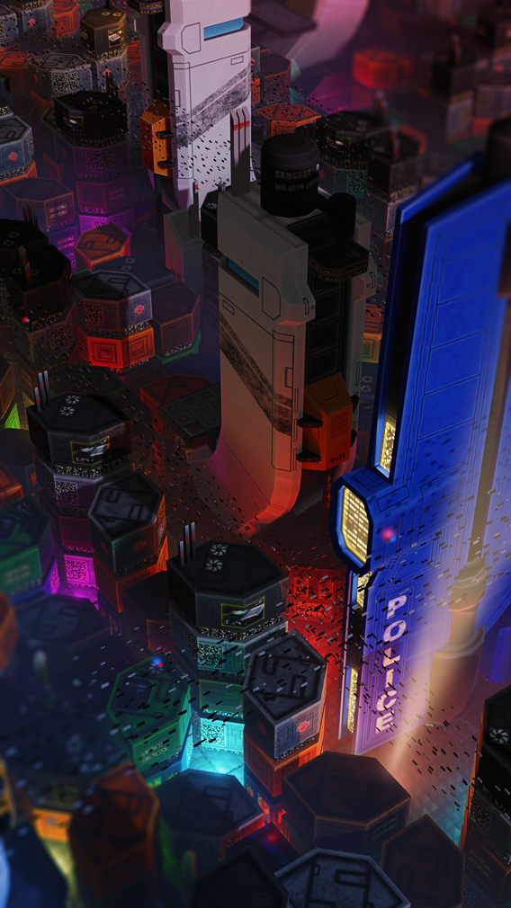 Sci-Fi City Scene - Pixelated