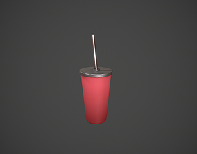 Red Tumbler with Straw 3D model