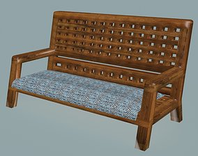 Wooden checkered solid bench 3D model