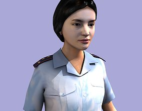 3D Asian woman - soviet police officer