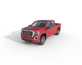 Low Poly Car - GMC Sierra 1500 Crew Cab 2019 Red 3D model