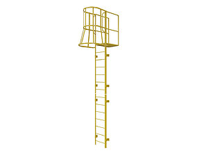 Fire escape stair Yellow 3D asset game-ready