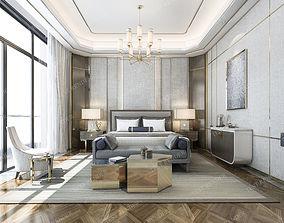 3D luxury classic modern bedroom suite in hotel