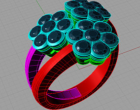Diamond Flower ring Printable 3dl Anello con diamanti a