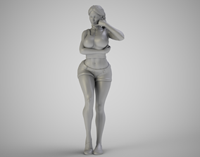 3D printable model Girl With Call Me Sign