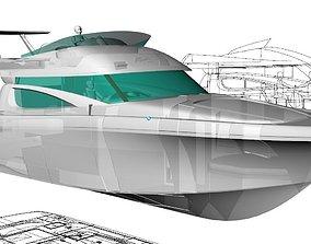 3D Motorboat 46ft Flybridge