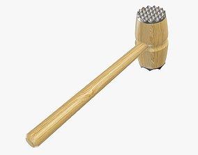 Meat tenderizer wooden hammer with metal endings 3D model
