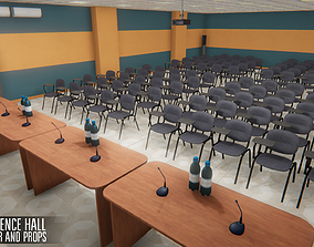 3D model game-ready Conference hall - interior and props