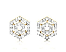 hoop sterling Women earrings 3dm render detail