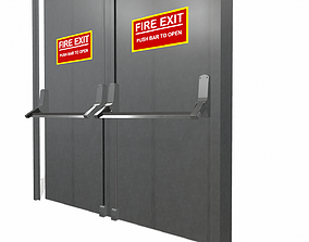 Double doors fire exit 3D model