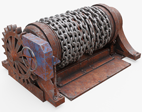 rusty Chain Winch 3D asset realtime