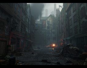 3D asset Victorian Decayed Alley Environment Game Ready