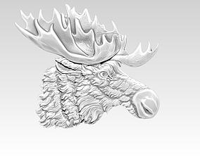 Detailed Moose relief 3D print model