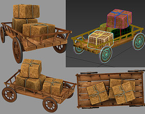 3D model trolley with hay
