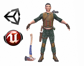 Man with a shotgun 3D asset