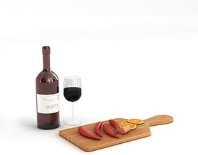 Wine And Chopped Board Miscellaneous 3D model