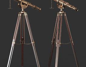 Vintage Antique Tripod Telescope 3D model