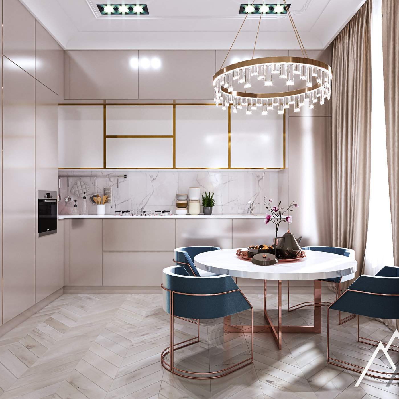 classic kitchen with dining table by 3DAG