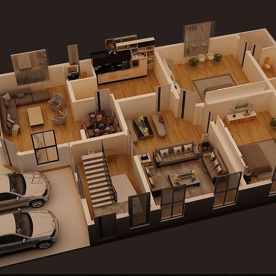3D FLOOR PLAN OF 1 KANAL HOSUE PLAN