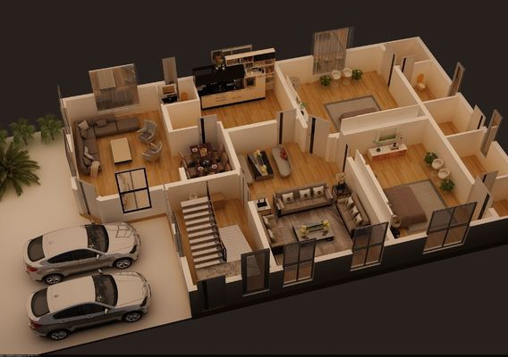3D FLOOR PLAN OF 1 KANAL HOSUE PLAN