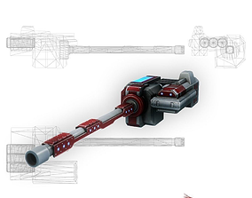 3D asset Blaster cannon 01 sci-fi low poly