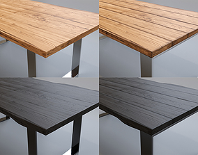 Wood Table Collection 8 Types 3D