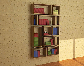 3D asset VR / AR ready Wooden Bookshelf 04