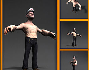 Popeye 3d cartoon character low-poly