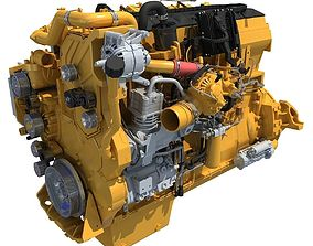 3D model Yellow Truck Engine Cat