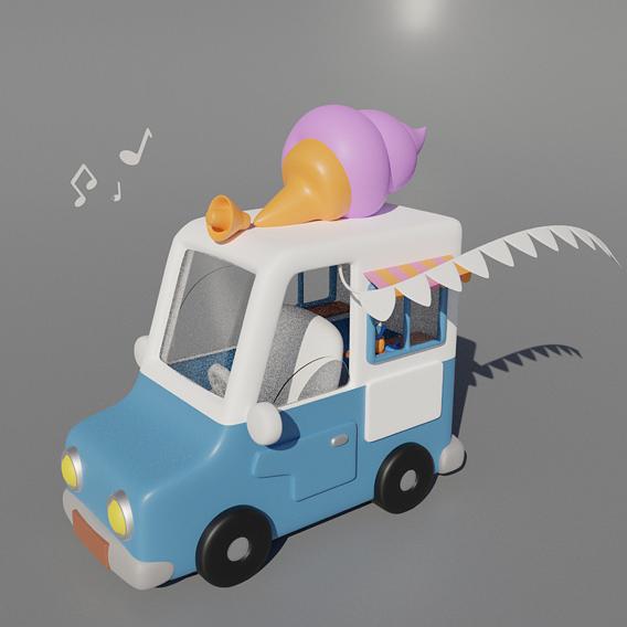 cartoon funny ice cream machine with music 3D model