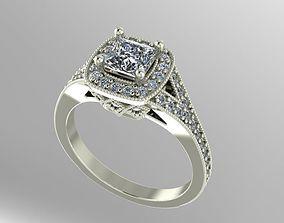 princess halo engagement ring 3D print model