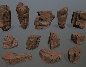 3D asset game-ready snow desert rocks