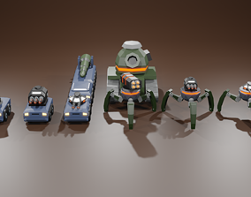 Low poly war machines 3D asset low-poly