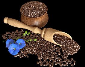 3D model Flax seeds