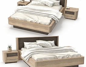 Bed and nightstand Bruna with decor 3D asset