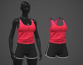 Female Sportswear gym clothing PBR 3D asset