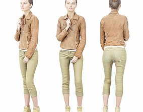 3D asset Wearing Brown Leather Jacket and Green Pants