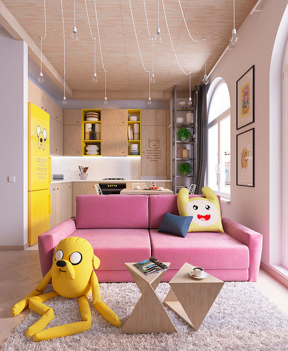 3D visualizations of the flat created in Adventures time cartoon style