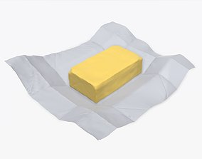 3D Butter with paper on ground