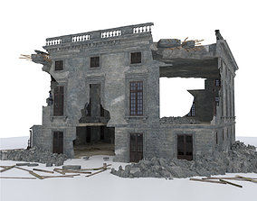3D asset DAMAGED BUILDING WAR POST APOCALYPSE