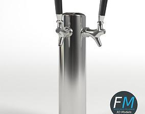3D model Double beer tap