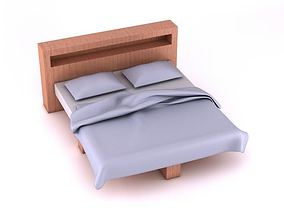 Modern Bed With Headboard 3D model