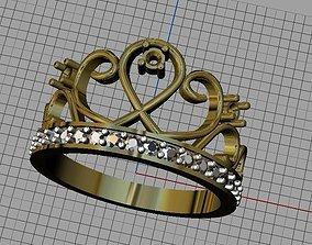 Crown ring diamond-ring 3D print model