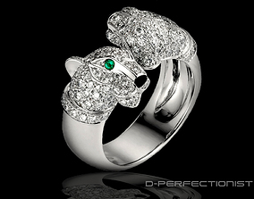 Panthere De Cartier Ring - Twin Head With 3D print model