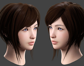 Beautiful Female Head 3D model realistic
