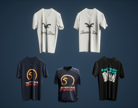 3D model low-poly TShirt Game Ready