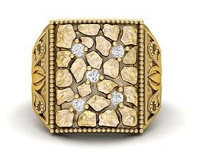 3D printable model Gents Diamond Nugget Ring 02