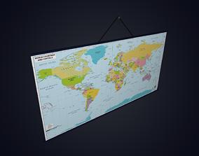 3D asset World Map for Classroom